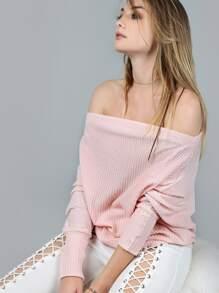 Pink Waffle Knit Asymmetric Shoulder T-shirt