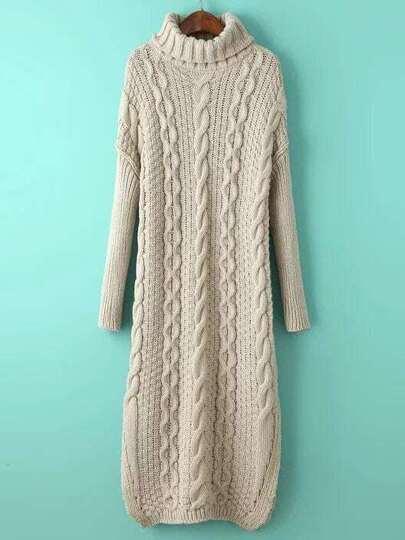 Beige Cable Knit Turtleneck Slit Maxi Sweater Dress