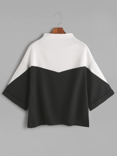 Color Block Mock Neck Slit Side Cuffed T-shirt