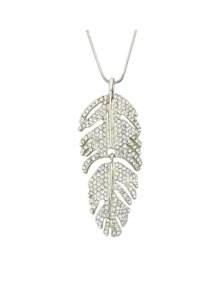 Silver Color Rhinestone Leaf Shape Long Necklace