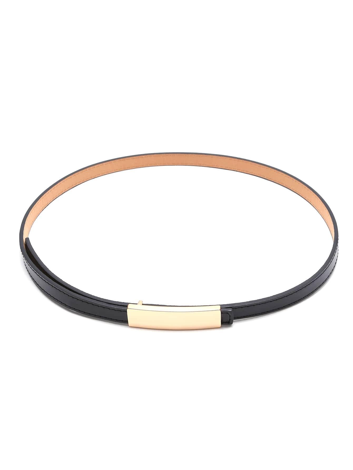 Black Golden Buckle Faux Leather Skinny Belt все цены
