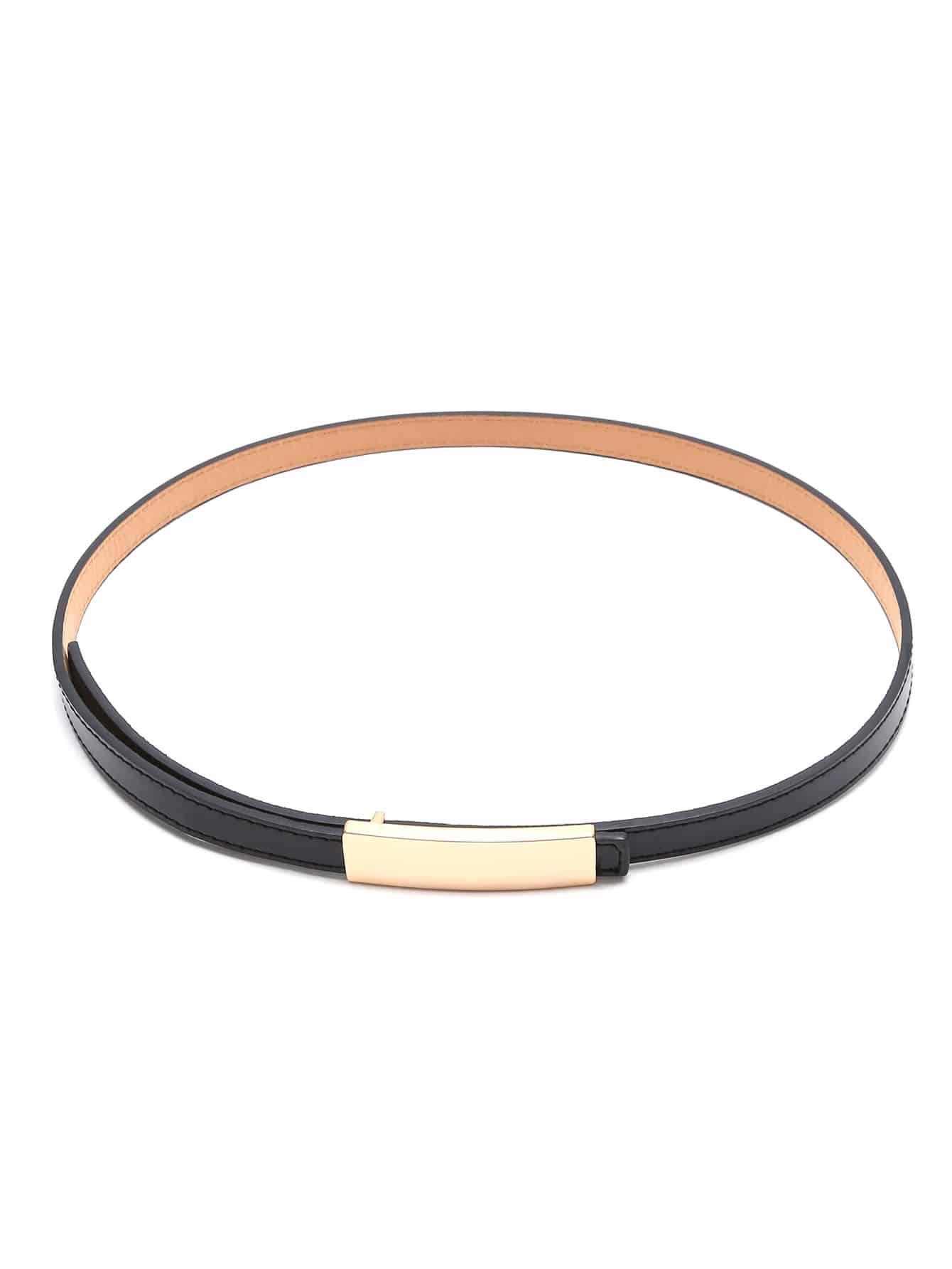 Black Golden Buckle Faux Leather Skinny Belt