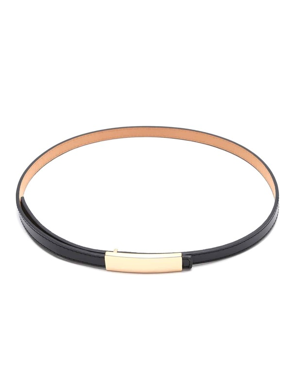 Black Golden Buckle Faux Leather Skinny Belt, null