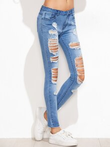 Blue Bleached Distressed Skinny Jeans