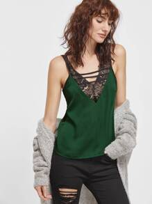 Green Contrast Lace Trim Strappy Cami Top