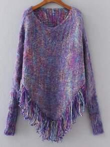 Purple Fringe Hem Poncho Sweater