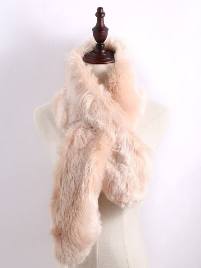 Apricot Faux Fur Plain Wide Stole