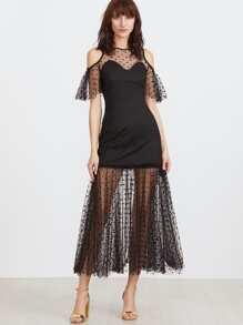 Black Polka Dot Mesh Overlay Cold Shoulder Dress