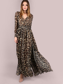 Leopard Print Surplice Neckline Chiffon Dress