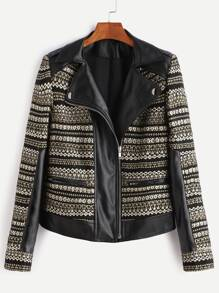 Black And Gold Asymmetrci Zip Jacquard Biker Jacket