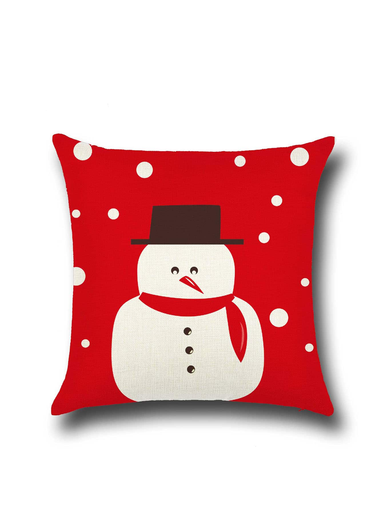 Red Christmas Snowman Print Pillowcase CoverRed Christmas Snowman Print Pillowcase Cover<br><br>color: Red<br>size: None