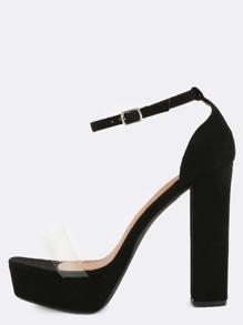 Clear Strap Platform Heels BLACK