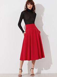 Jupe avec ceinture large sur côté zippé plissée -rouge