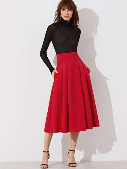 Wide Waistband Side Zip Box Pleated Midi Skirt