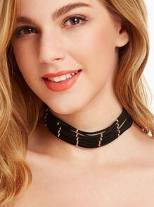 Black Beaded String Choker Necklace