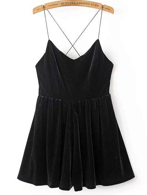 Black Spaghetti Strap Cross Back Velvet Romper jumpsuit161222201