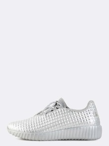 Metallic Textured Sneakers SILVER