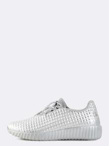 Metallic Textured Sneakers SILVER