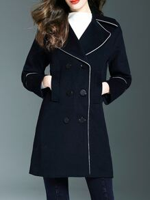 Mavy Lapel Pockets Shift Coat