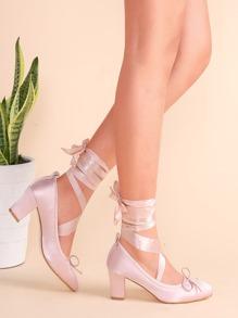 Zapatos de tacón con tiras cruzadas de satén - rosa