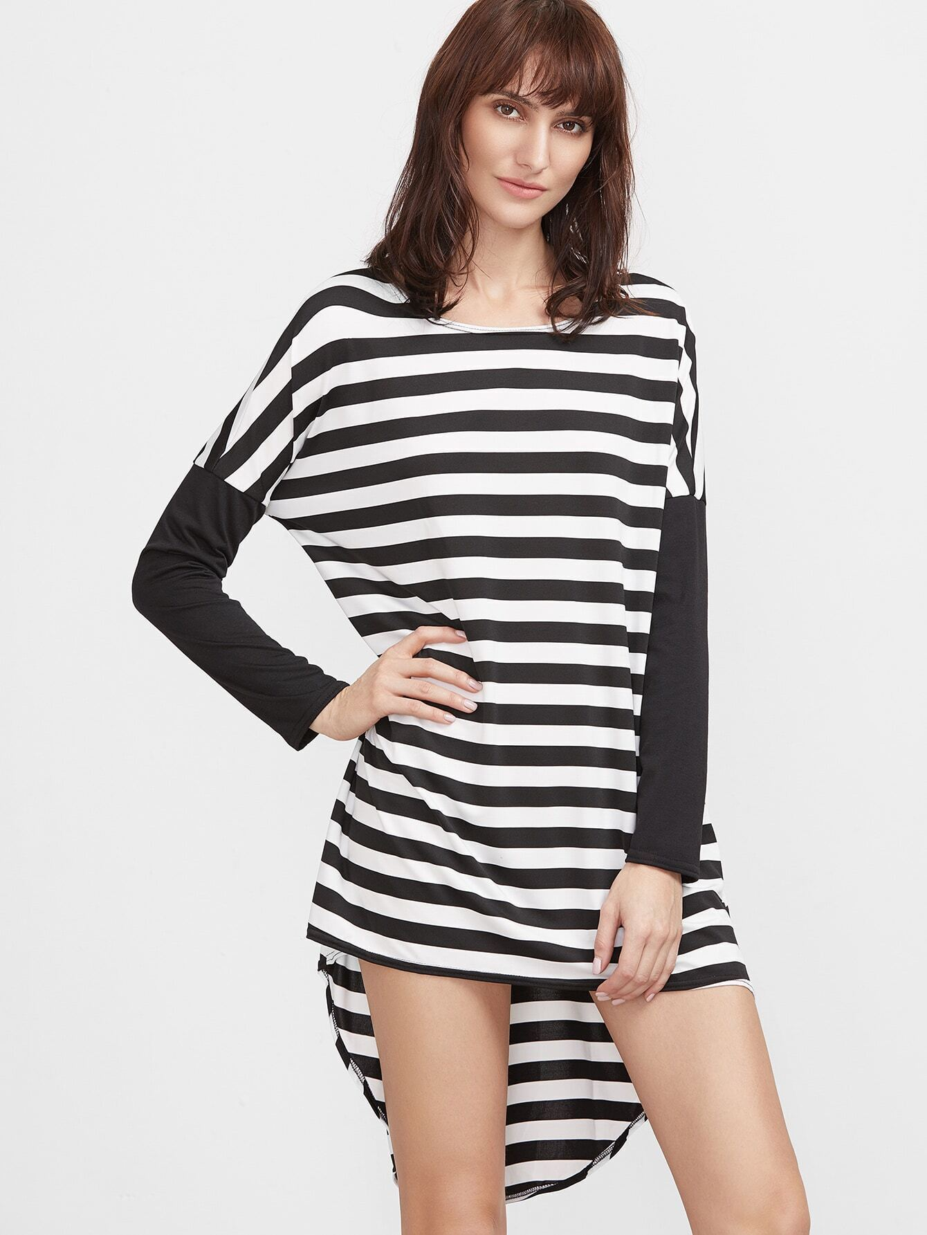 Buy Contrast Striped Drop Shoulder High Low Tee Dress