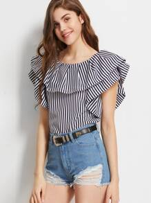 Vertical Striped Ruffled Boat Neck Top