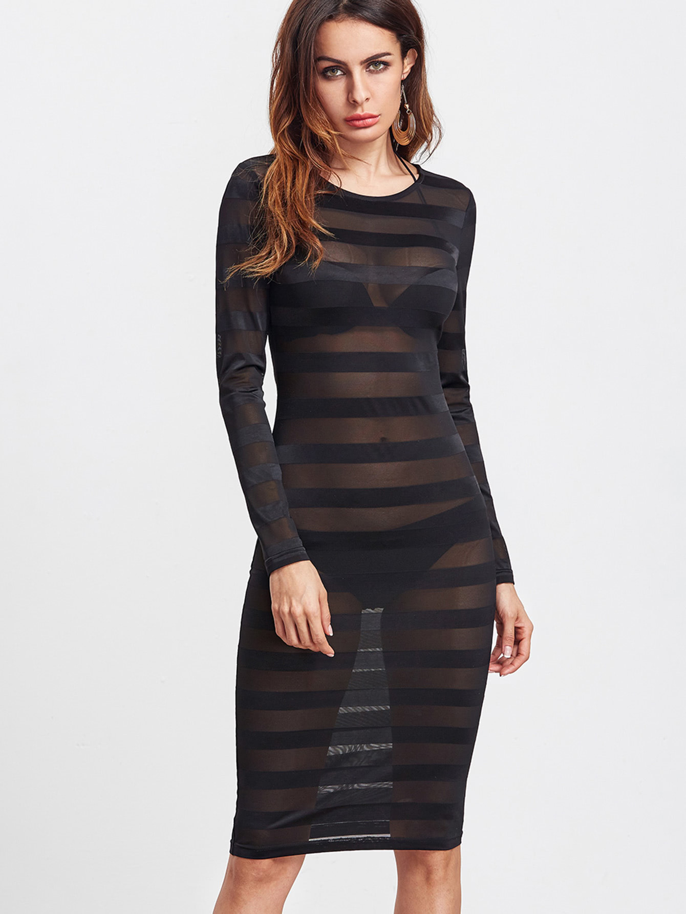 Wide Striped Mesh See-Through Dress see through mesh patchwork bodycon dress