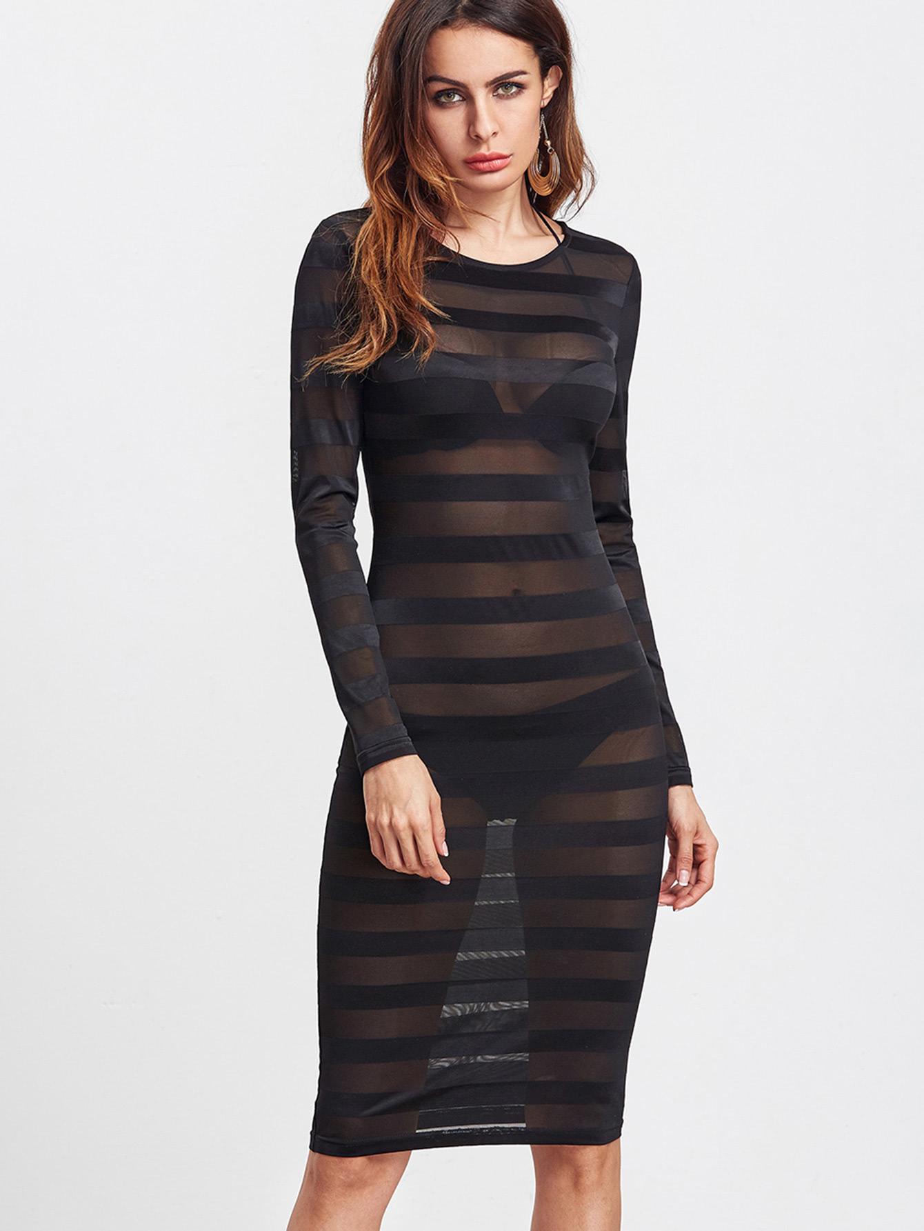 Wide Striped Mesh See-Through Dress dress161226705