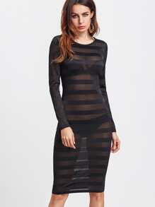 Wide Striped Mesh See-Through Dress
