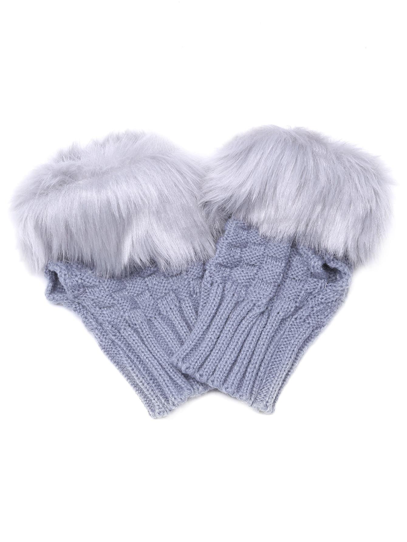 Light Grey Fingerless Design Fur Cuff Knittted Gloves