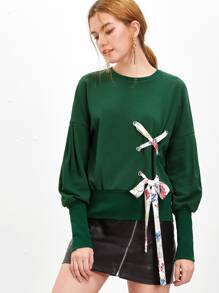 Green Bishop Sleeve Sweatshirt With Eyelet Lace Up Detail