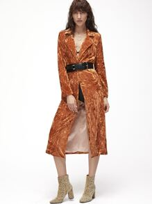 Brown One Button Front Longline Crushed Velvet Coat