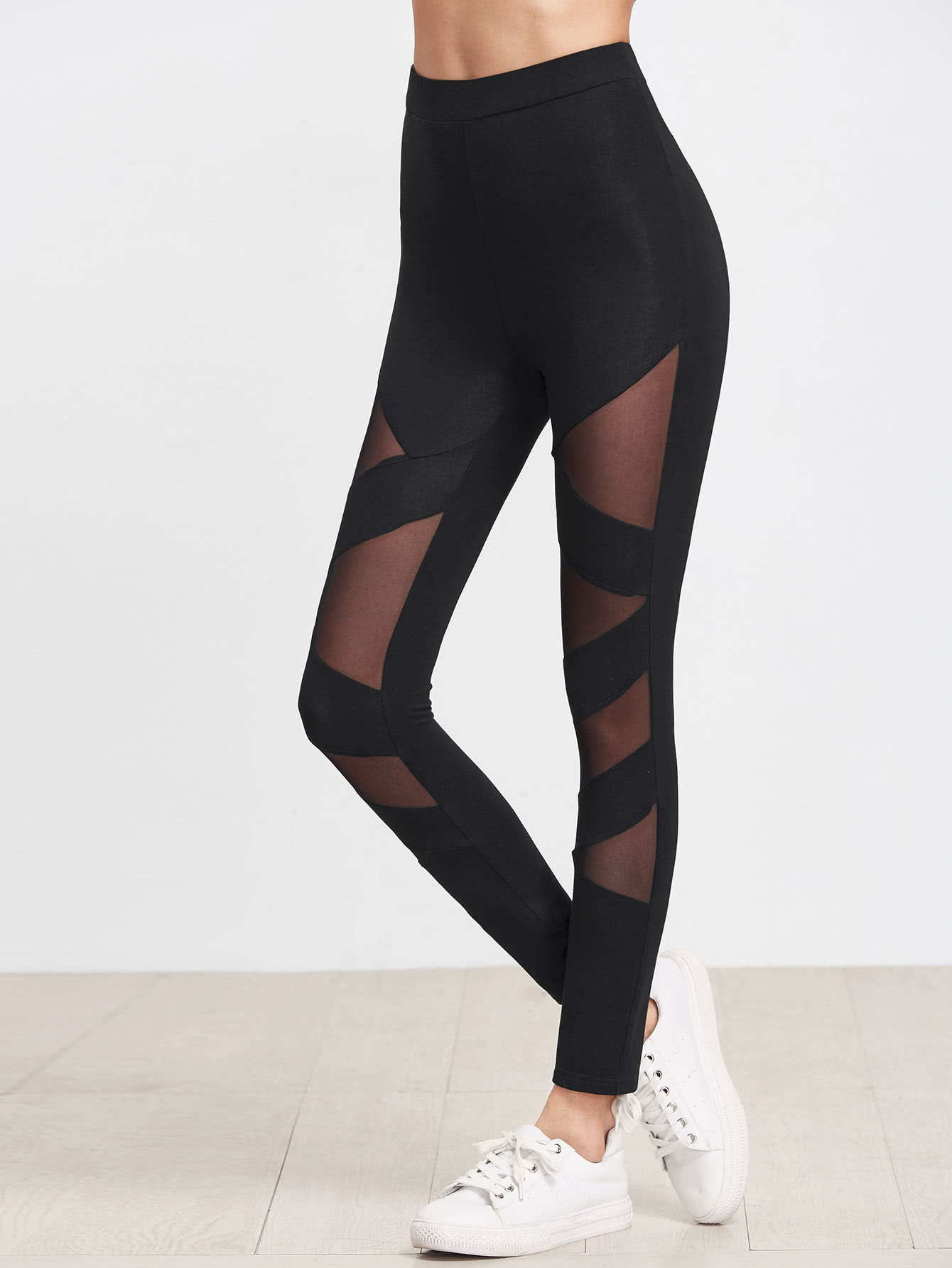 Mesh Insert Striped Leggings side panel mesh insert camo leggings