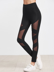 Mesh Insert Striped Leggings