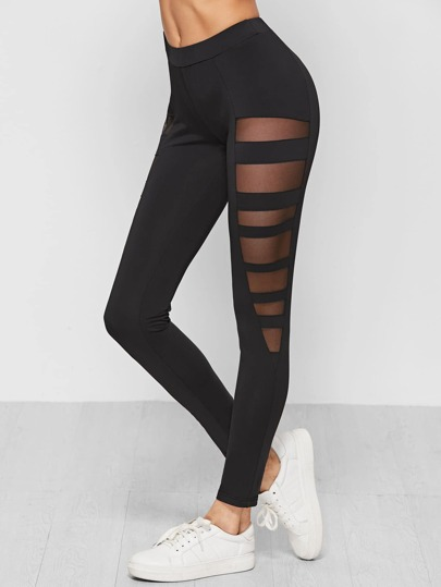 Mesh Insert Ladder Cutout Leggings