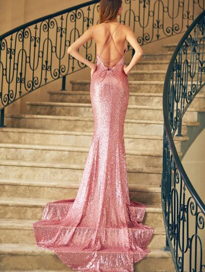 Pink Crisscross Back Fishtail Sequin Dress