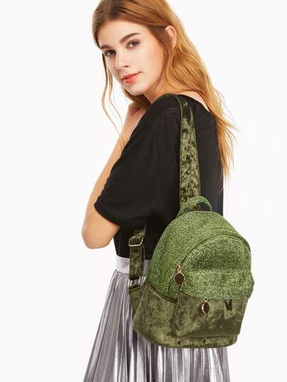 Green Contrast External Pocket Velvet Backpack