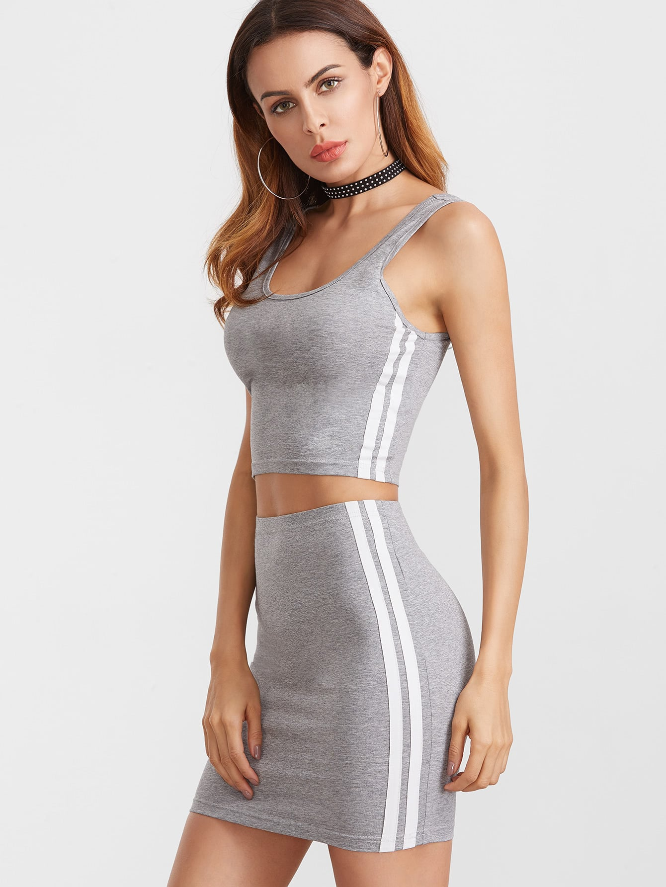 Heather Grey Double Scoop Neck Side Striped Tank Top With Skirt