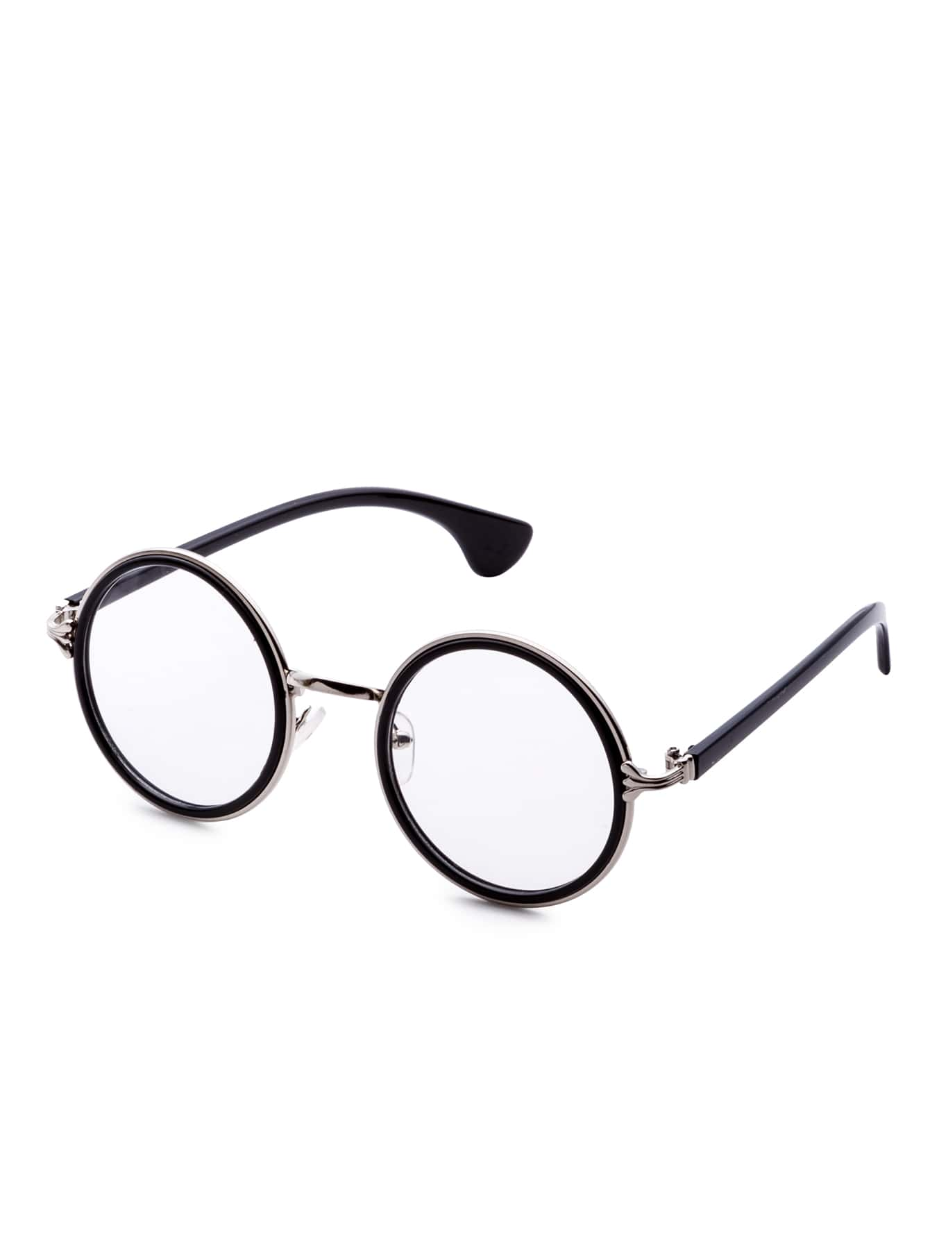 Black Frame Clear Lens Retro Style Round Sunglasses