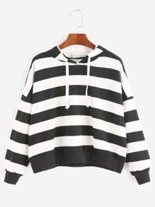 Sweat-shirt contrasté à rayure à capuche à l'épaule laissé