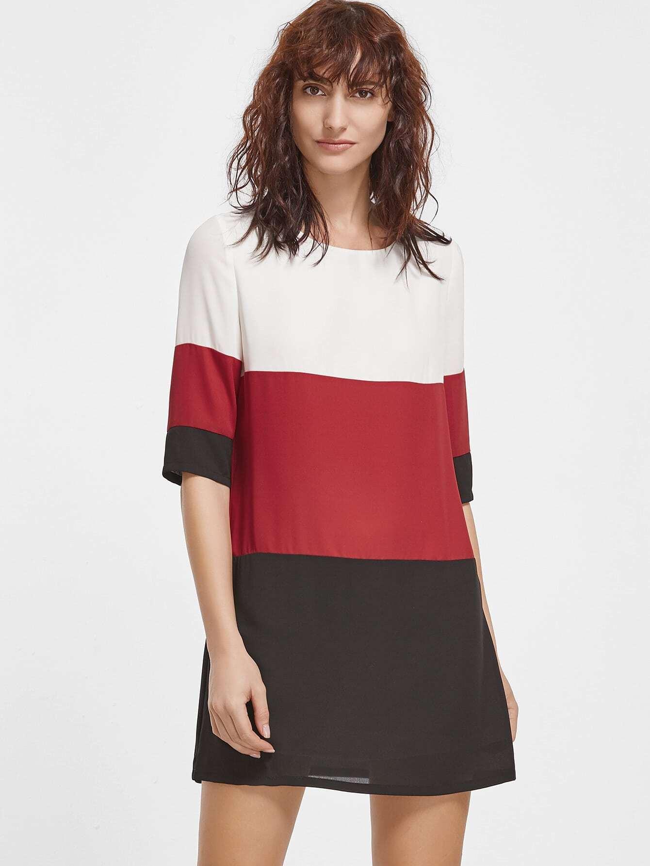 Color Block Half Sleeve Tunic Dress dress161202704