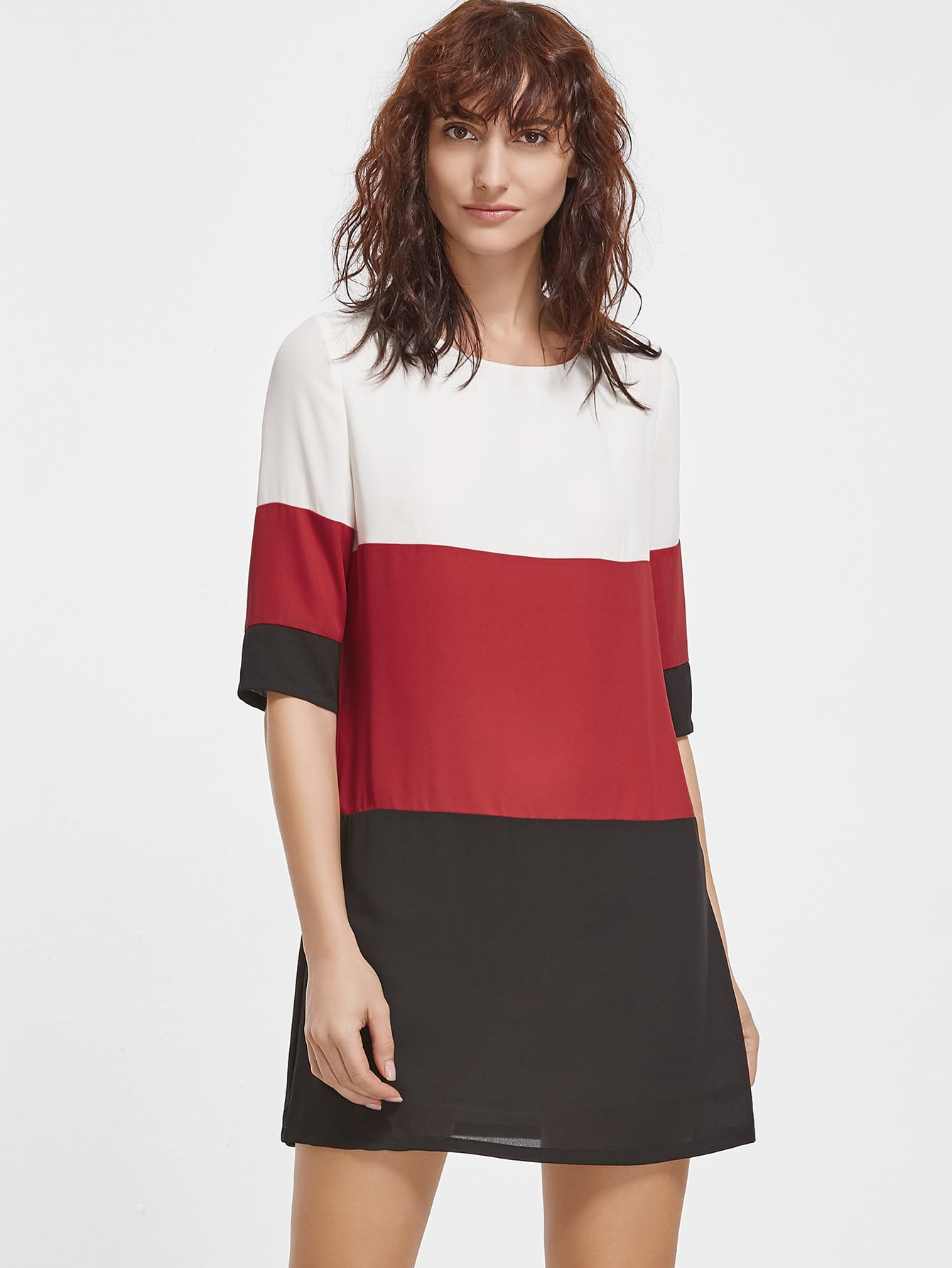 Color Block Half Sleeve Tunic Dress dress161202704