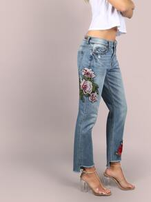 Floral Patched Girlfriend Dip Hem Jeans DENIM
