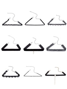 Black Multi Design Choker Necklace Set 9PCS
