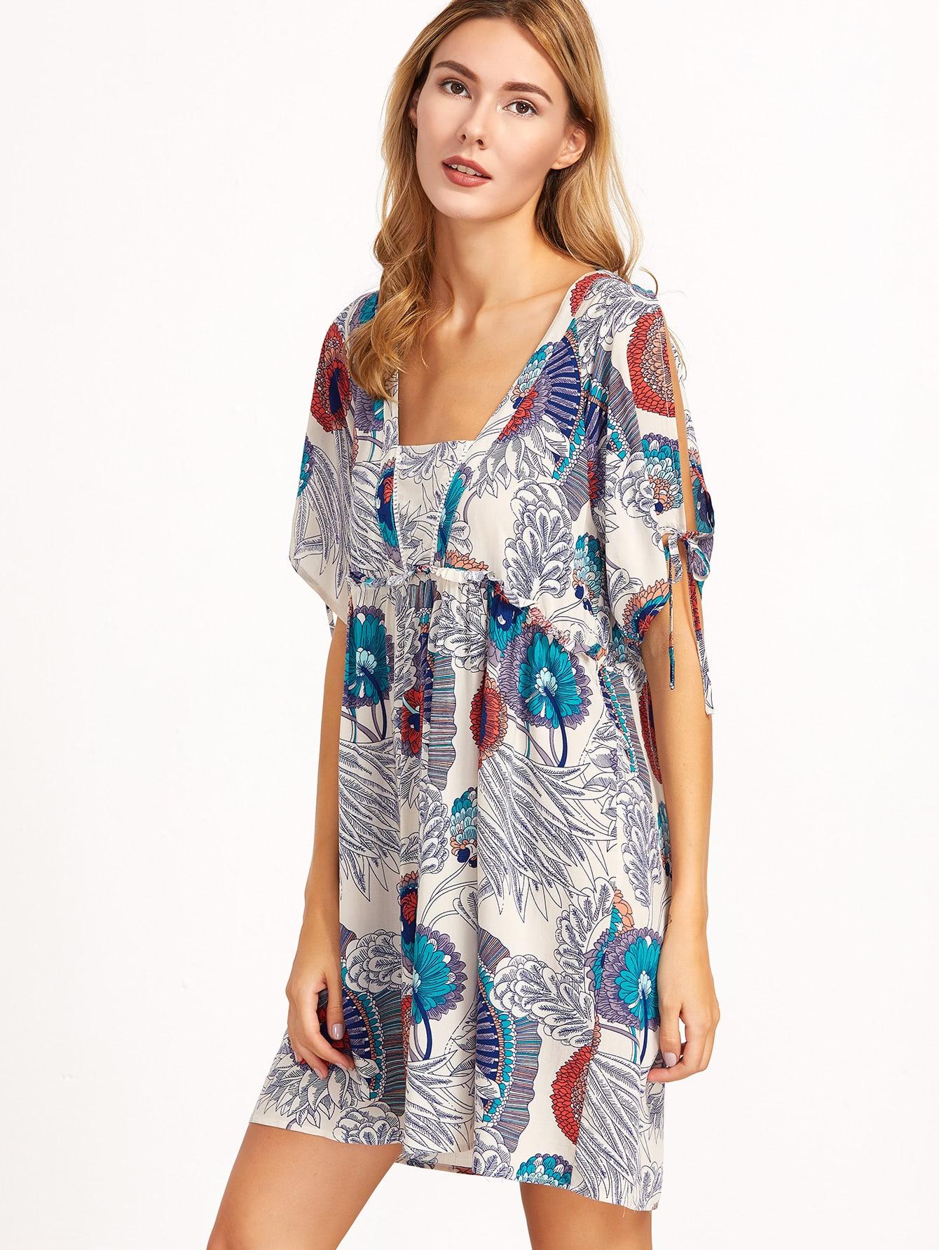 Фото Tribal Print Lace Up Cut Out Dress. Купить с доставкой