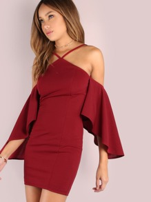 Asymmetrical Bell Sleeved Bodycon Mini Dress BURGUNDY