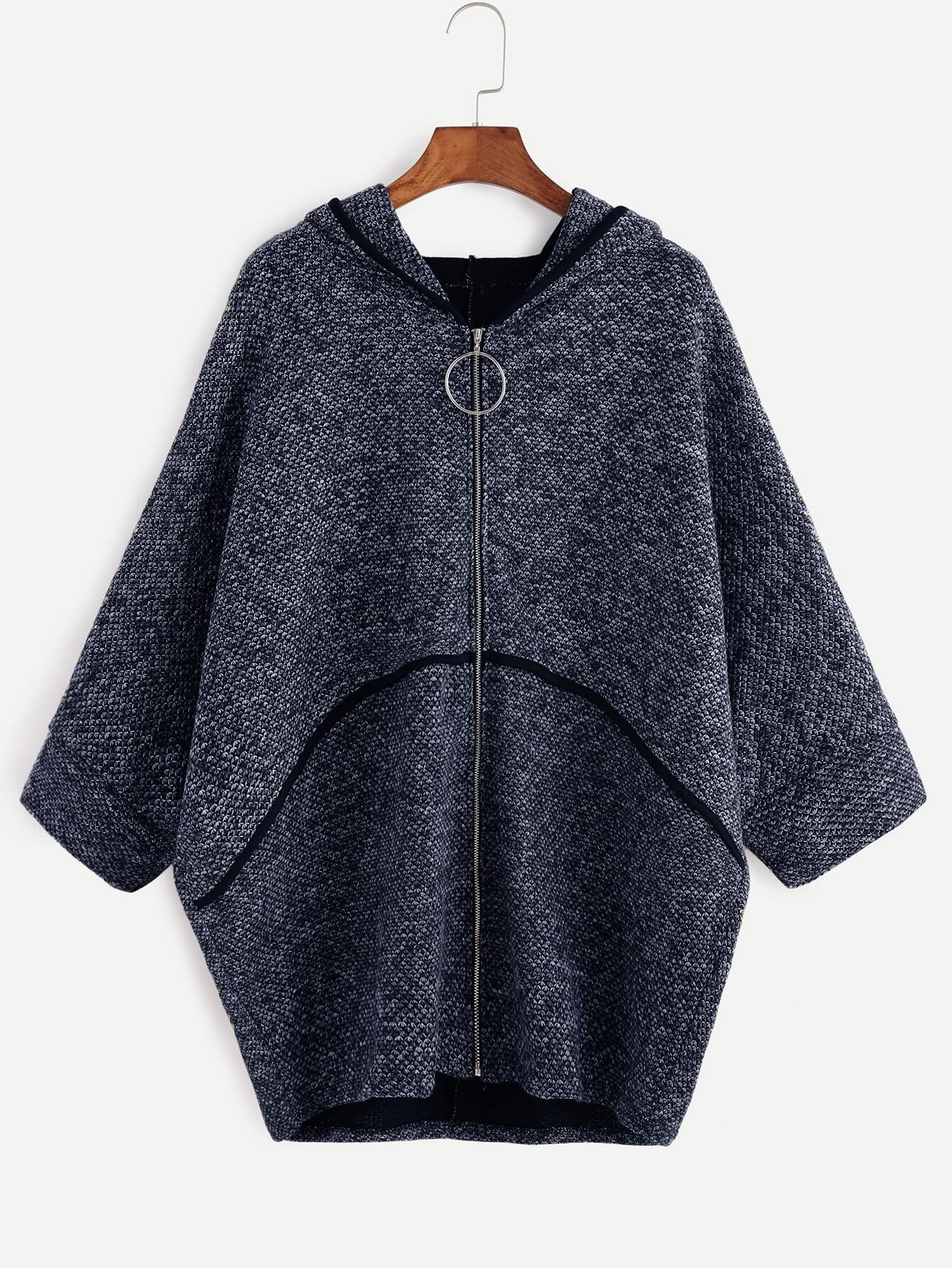 Navy Batwing Sleeve Zipper Up Hooded Coat