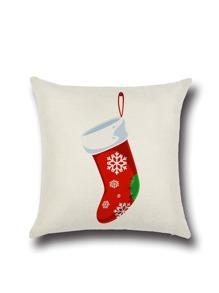 Housse de coussin en motif de chaussette de Noël -blanc