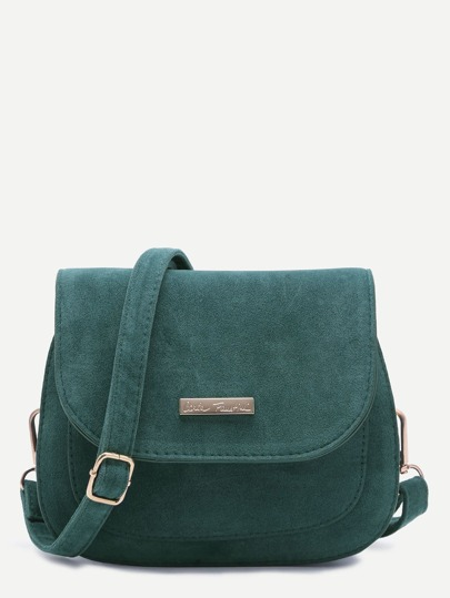 Blue Nubuck Leather Saddle Crossbody Bag