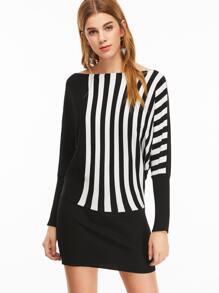 Black Striped Boat Neck Batwing Sleeve Bodycon Dress